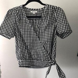 Madewell Black and White Gingham Wrap Top NWOT